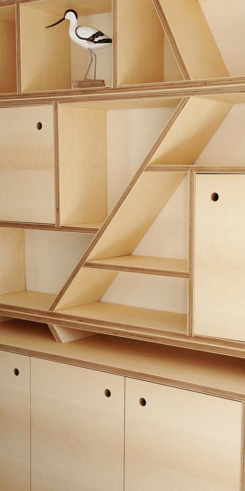 Bespoke contemporary Figured Sycamore Storage Unit
