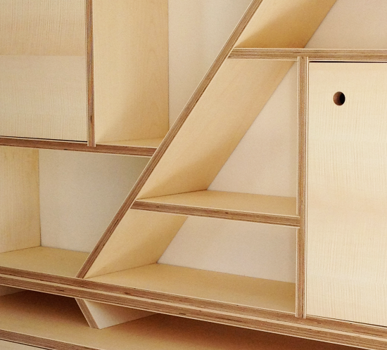 Bespoke contemporary Figured Sycamore Storage Unit
