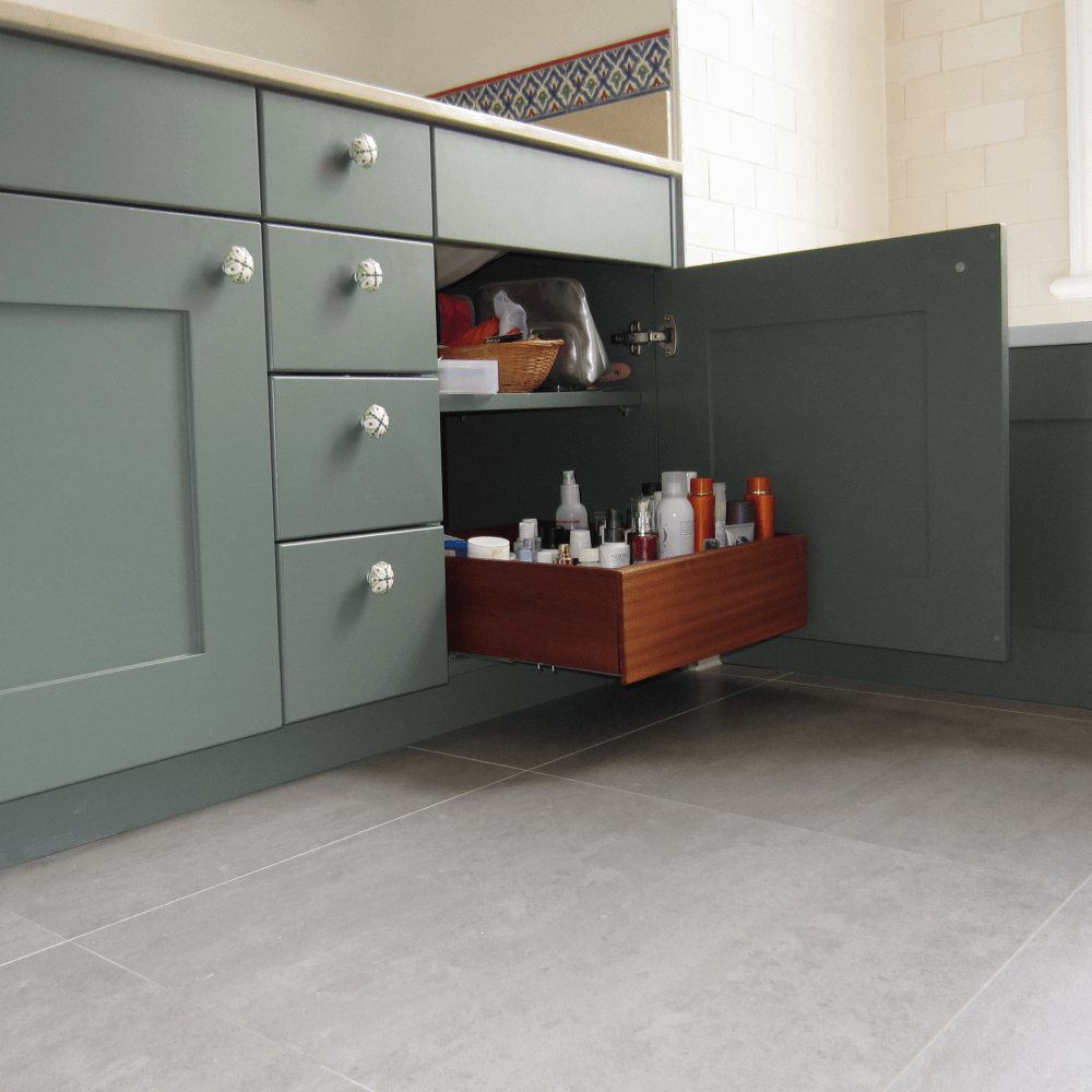 Vanity Unit painted + sapele drawers